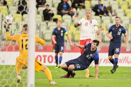 Kamil Grosicki of Poland (L) and Daniel O'Shaughnessy of Finland (R) are seen in action during a football friendly match between Poland and Finland at the Energa Stadium in Gdansk. (Final score; Poland 5:1 Finland)