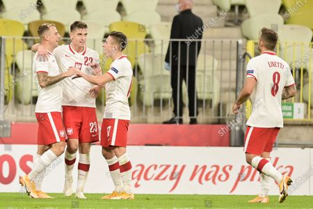 Kamil Grosicki of Poland seen celebrating a goal with his teammates (Krzysztof Piatek and Damian Kadzior) during a football friendly match between Poland and Finland at the Energa Stadium in Gdansk. (Final score; Poland 5:1 Finland)