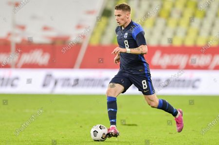 Robert Taylor of Finland seen in action during a football friendly match between Poland and Finland at the Energa Stadium in Gdansk. (Final score; Poland 5:1 Finland)