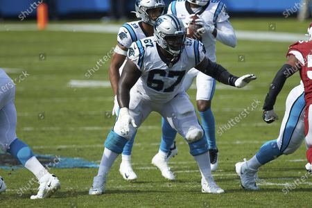 Carolina Panthers guard John Miller (67) during an NFL football game against the Arizona Cardinals, in Charlotte, N.C