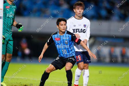 (L to R)  Ryota Oshima (Frontale),  Takuya Uchida (FC Tokyo) - Football / Soccer :  2020 J. League YBC Levain Cup  Semi-Final match  between Kawasaki Frontale 0-2 FC Tokyo  at Kawasaki Todoroki Stadium, Kanagawa, Japan.