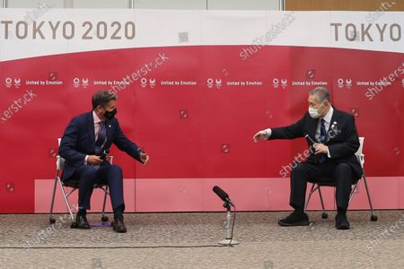 World Athletics President Sebastian Coe (L) and President of the Tokyo Organising Committee of the Olympic and Paralympic Games Mori Yoshiro (R) attend a meeting in Chuo City, Tokyo, Japan, 08 October 2020.