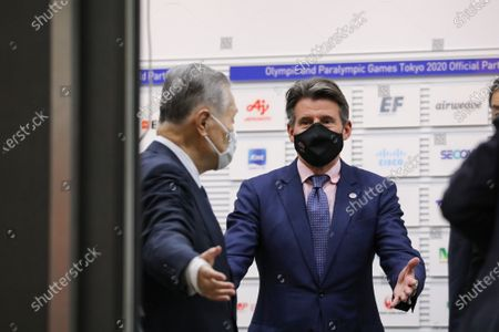 World Athletics President Sebastian Coe (R) and Tokyo Organising Committee of the Olympic and Paralympic Games President Mori Yoshiro (L) arrive for a meeting in Chuo City, Tokyo, Japan, 08 October 2020.