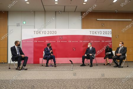 World Athletics President Sebastian Coe (2-L) and World Athletics CEO Jon Ridgeon (L) meet with Tokyo Organising Committee of the Olympic and Paralympic Games President Mori Yoshiro (3-R) and Tokyo 2020 CEO Muto Toshiro (R) in Chuo City, Tokyo, Japan, 08 October 2020.