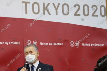 Tokyo Organising Committee of the Olympic and Paralympic Games President Mori Yoshiro speaks during the meeting with World Athletics President Sebastian Coe (not pictured) in Chuo City, Tokyo, Japan, 08 October 2020.
