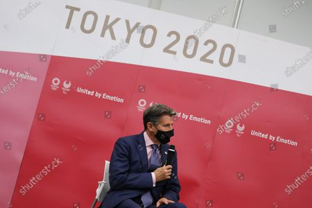 World Athletics President Sebastian Coe speaks during the meeting with Tokyo Organising Committee of the Olympic and Paralympic Games President Mori Yoshiro (not pictured) in Chuo City, Tokyo, Japan, 08 October 2020.