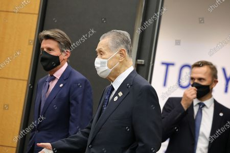 World Athletics President Sebastian Coe (L) and Tokyo Organising Committee of the Olympic and Paralympic Games President Mori Yoshiro (C) arrive for a meeting in Chuo City, Tokyo, Japan, 08 October 2020.