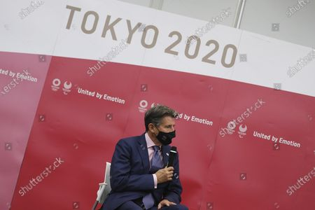 World Athletics President Sebastian Coe speaks during a meeting with Tokyo 2020 Organizing Committee President Yoshiro Mori in Tokyo . Coe is in the Japanese capital on a courtesy visit to Tokyo Olympics organizers