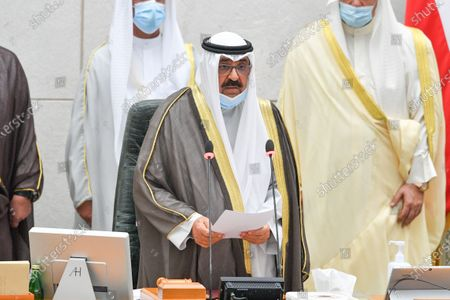 Kuwait Crown Prince Sheikh Mishaal Al-Ahmad Al-Jaber Al-Sabah speaks after taking the oath of office at the Kuwait Parliament, in Kuwait City, Kuwait, 08 October 2020