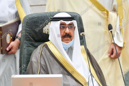 Kuwait Crown Prince Sheikh Mishaal Al-Ahmad Al-Jaber Al-Sabah takes the oath of office at the Kuwait Parliament, in Kuwait City, Kuwait, 08 October 2020