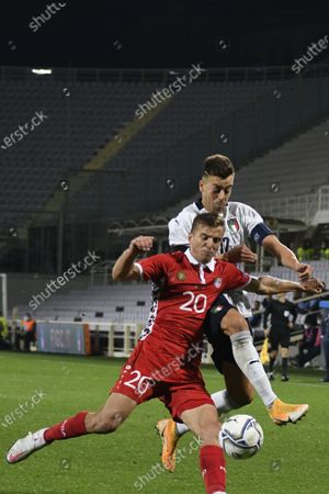 Sergiu Platica (Moldova) Stephan El Shaarawy (Italy)                      during the Uefa  Nations League match between match between Italy 6-0 Moldova   at Artemio Franchi Stadium   on October 07 , 2020 in Florence, Italy.