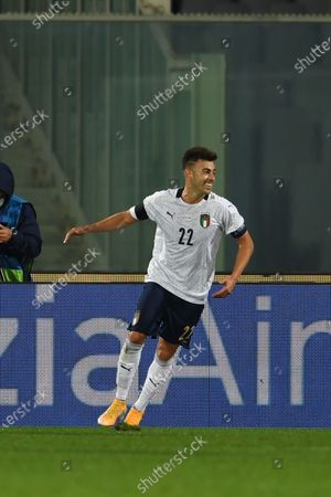 Stephan El Shaarawy (Italy)  celebrates after scoring his team's third goal  during the Uefa  Nations League match between match between Italy 6-0 Moldova   at Artemio Franchi Stadium   on October 07 , 2020 in Florence, Italy.