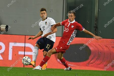 Stephan El Shaarawy (Italy) Sergiu Platica (Moldova)                       during the Uefa  Nations League match between match between Italy 6-0 Moldova   at Artemio Franchi Stadium   on October 07 , 2020 in Florence, Italy.