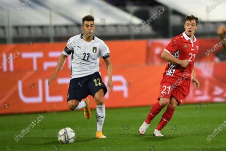Stock Picture of Stephan El Shaarawy (Italy) Vadim Rata (Moldova)                       during the Uefa  Nations League match between match between Italy 6-0 Moldova   at Artemio Franchi Stadium   on October 07 , 2020 in Florence, Italy.
