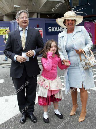 Stock Picture of Dominic Lawson, Rosa Monckton and daughter Domenica