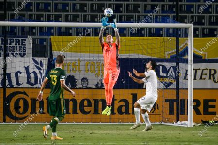 Portland Timbers goalkeeper Steve Clark (12) makes a save during an MLS soccer match between LA Galaxy and Portland Timbers in Carson, Calif., . The Timbers won 6-3