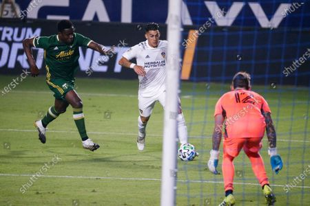 Galaxy forward Cristian Pavon (10) of Argentina, in actions during an MLS soccer match between LA Galaxy and Portland Timbers in Carson, Calif., . The Timbers won 6-3
