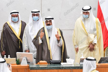 Kuwait's new Crown Prince Sheikh Mishaal Al-Ahmad Al-Jaber Al-Sabah speaks after taking the oath of office at Kuwait's parliament, in Kuwait city, Kuwait, 08 October 2020. Emir Sheikh Nawaf Al-Ahmad Al-Jaber Al-Sabah named his brother Sheikh Mishaal Al-Ahmad Al-Sabah the country's crown prince.