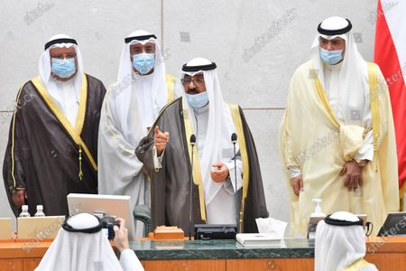 Kuwait's new Crown Prince Sheikh Mishaal Al-Ahmad Al-Jaber Al-Sabah speaks after taking the oath of office at Kuwait's parliament, in Kuwait city, Kuwait, 08 October 2020. Emir Sheikh Nawaf Al-Ahmad Al-Jaber Al-Sabah named his brother Sheikh Mishaal Al-Ahmad Al-Jaber Al-Sabah the country's crown prince.