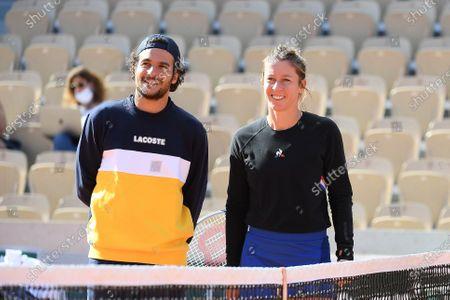 Stock Image of Pauline Parmentier and Amir at Roland Garros stadium