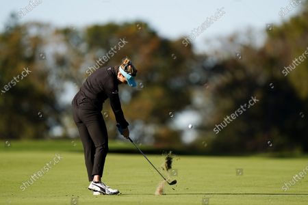 Lexi Thompson hits from the fairway on the second hole during the first round of the KPMG Women's PGA Championship golf tournament at the Aronimink Golf Club, in Newtown Square, Pa
