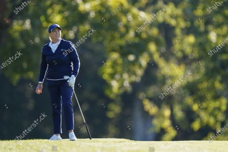 Cristie Kerr watches her shot from the fairway on the second hole during the first round of the KPMG Women's PGA Championship golf tournament at the Aronimink Golf Club, in Newtown Square, Pa