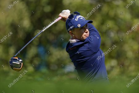 Morgan Pressel watches her tee shot on the first hole during the first round of the KPMG Women's PGA Championship golf tournament at the Aronimink Golf Club, in Newtown Square, Pa