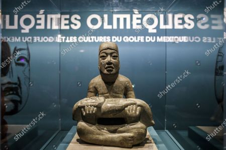 The 'Senor of Las Limas' sculpture on display during a press preview of the exhibition 'The Olmecs and the Civilizations from the Gulf of Mexico' at the Quai Branly Museum-Jacques Chirac, a museum featuring indigenous art and cultures of Africa, Asia, Oceania and the Americas, in Paris, France, 08 October 2020. The exhibition opens to the public on 09 October 2020 to 25 July 2021.