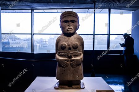 A Female Sculture on display during a press preview of the exhibition 'The Olmecs and the Civilizations from the Gulf of Mexico' at the Quai Branly Museum-Jacques Chirac, a museum featuring indigenous art and cultures of Africa, Asia, Oceania and the Americas, in Paris, France, 08 October 2020. The exhibition opens to the public on 09 October 2020 to 25 July 2021.