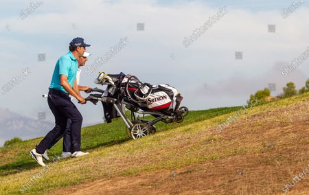 Spanish players Alfredo Garcia (L) and Jose Maria Olazabal (2-L) during the Spanish golf Championship held at La Grajera, in Logrono, Spain, 08 October 2020. Spanish golf Championship will be held from 08 to 11 October.