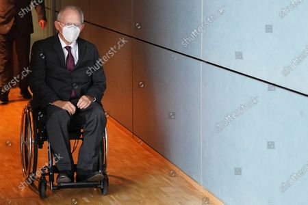 President of the German Parliament Bundestag Wolfgang Schaeuble arrives for the constitution of the 3rd committee of inquiry of the 19th legislative period in Berlin, Germany, 08 October 2020. The inquiry committee deals with the so called Wirecard scandal.