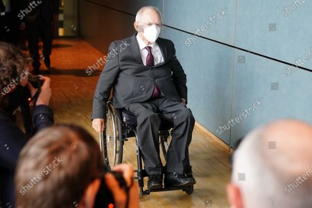 President of the German Parliament Bundestag Wolfgang Schaeuble arrives for the the constitution of the 3rd committee of inquiry of the 19th legislative period in Berlin, Germany, 08 October 2020. The inquiry committee deals with the so called Wirecard scandal.