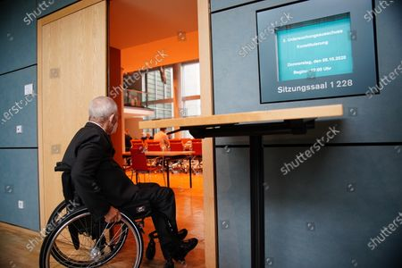 Stock Photo of President of the German Parliament Bundestag Wolfgang Schaeuble arrives for the the constitution of the 3rd committee of inquiry of the 19th legislative period in Berlin, Germany, 08 October 2020. The inquiry committee deals with the so called Wirecard scandal.