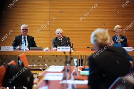 Stock Picture of President of the German Parliament Bundestag Wolfgang Schaeuble (2-L)  during the constitution of the 3rd committee of inquiry of the 19th legislative period in Berlin, Germany, 08 October 2020. The inquiry committee deals with the so called Wirecard scandal.