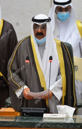 Sheikh Mishal Al-Ahmad Al-Jaber Al-Sabah takes an oath before the Kuwaiti National Assembly as Crown Prince in Kuwait City, Kuwait, Oct. 8, 2020. Kuwaiti National Assembly (parliament) approved Sheikh Mishal Al-Ahmad Al-Jaber Al-Sabah as Crown Prince, Kuwait News Agency reported Thursday.