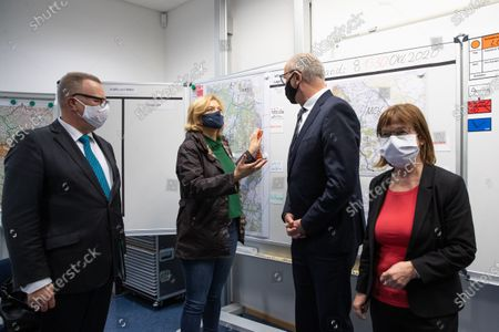 (L-R) Interior Minister of the German State of Brandenburg Michael Stuebgen, German Minister of Food and Agriculture Julia Kloeckner, Premier of Brandenburg Dietmar Woidke and Consumer Protection Minister of Brandenburg Ursula Nonnemacher during a the state crisis team meeting to combat the African Swine Fever (ASF) in Eisenhuettenstadt, Brandenburg, Germany, 08 October 2020. Soldiers from the Jaeger Battalion 413 and the Brandenburg Reserve Support Company are currently deployed to combat the African Swine Fever (ASF).