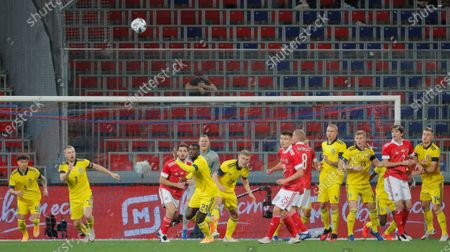 Jordan Larsson (L), Sebastian Larsson(1L),  Ken Sema (4L), Carl Stafelt (C) of Sweden in action against Mario Fernandes (2R), Yuri Gazinski (5R), Andrei Mostovoy (6R) of Russia during the international friendly soccer match between Russia and Sweden at VTB Arena in Moscow, Russia, 08 October 2020.