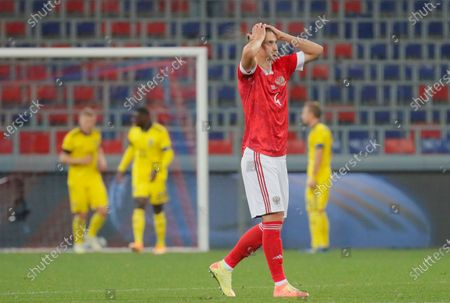 Ilya Kutepov of Russia reacts during the international friendly soccer match between Russia and Sweden at VTB Arena in Moscow, Russia, 08 October 2020.