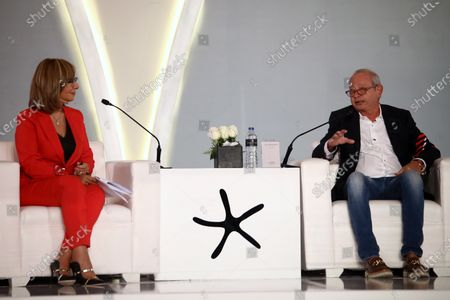Stock Picture of Naguib Sawiris (R), the founder of El Gouna Film Festival (GFF) attends a press conference on the preparations for El-Gouna Film Festival, in Cairo, Egypt, 08 October 2020. The fourth edition of GFF will take place from 23 to 31 October.