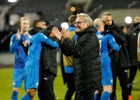 Iceland's coach Erik Hamren, centre, celebrates after the Euro 2020 playoff semifinal soccer match between Iceland and Romania in Reykjavik, Iceland