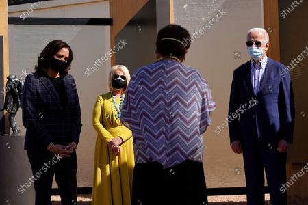 Democratic presidential candidate former Vice President Joe Biden, vice presidential candidate Sen. Kamala Harris, D-Calif., and Cindy McCain visit the American Indian Veterans National Memorial with tribal leaders and veterans at Heard Museum in Phoenix