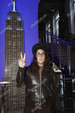 Sean Lennon poses for a photo at the lighting ceremony of the Empire State building, in New York