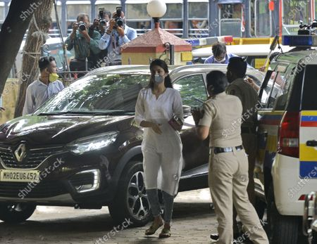 Bollywood actor Rhea Chakraborty arrives at Santacruz police station for attendance after Bombay high court granted bail in drugs-related charges in the Sushant Singh Rajput death case on Wednesday  on October 8, 2020 in Mumbai, India.