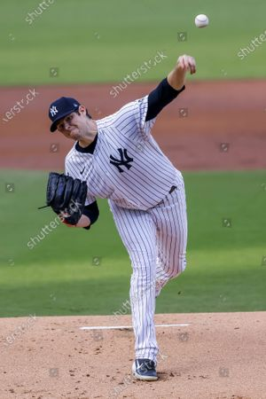 New York Yankees starting pitcher Jordan Montgomery delivers to a Tampa Bay Rays batter in the first inning of the American League Division Series playoff game four between the Tampa Bay Rays and the New York Yankees at Petco Park in San Diego, California, USA, 08 October 2020.