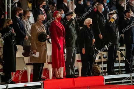 King Philippe, Filip of Belgium and Queen Mathilde with their children Prince Gabriel, Prince Emmanuel and Princess Eleonore together with Former King Albert II and Queen Paola during the opening ceremony of the academic year 2020-2021 of the Royal Military School in Brussels, Belgium.
