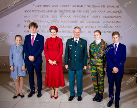 King Philippe, Filip of Belgium and Queen Mathilde with their children Princess Elisabeth, Prince Gabriel, Prince Emmanuel and Princess Eleonore during the opening ceremony of the academic year 2020-2021 of the Royal Military School in Brussels, Belgium.