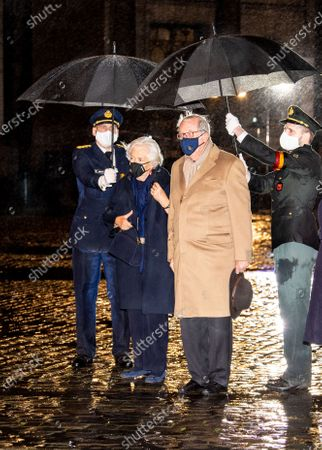 Former King Albert II and Former Queen Paola during the opening ceremony of the academic year 2020-2021 of the Royal Military School in Brussels, Belgium.
