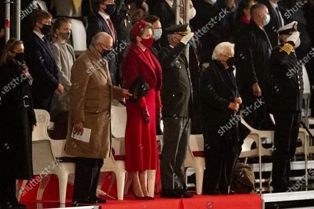 Queen Mathilde with Former King Albert II and Queen Paola