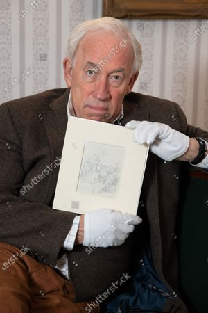 Actor Simon Callow, Patron of the Charles Dickens Museum, in Dickens's Drawing Room at the Museum with John Leech's original pencil sketches for the first edition of A Christmas Carol, published in 1843. To mark the 150th anniversary of the death of Charles Dickens, the Isle of Man Post Office has worked with the Museum to publish a set of six stamps, five of which feature Leechs's engravings for the book. The stamps will be published on 14 October 2020
