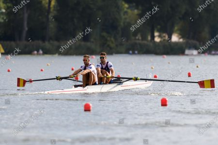 Stock Photo of Jaime Canalejo Pazos and Javier Garcia Ordonez of Spain in action during the Men's Pair Heat race at the European Rowing Championshps 2020 in Poznan, Poland, 09 October 2020.